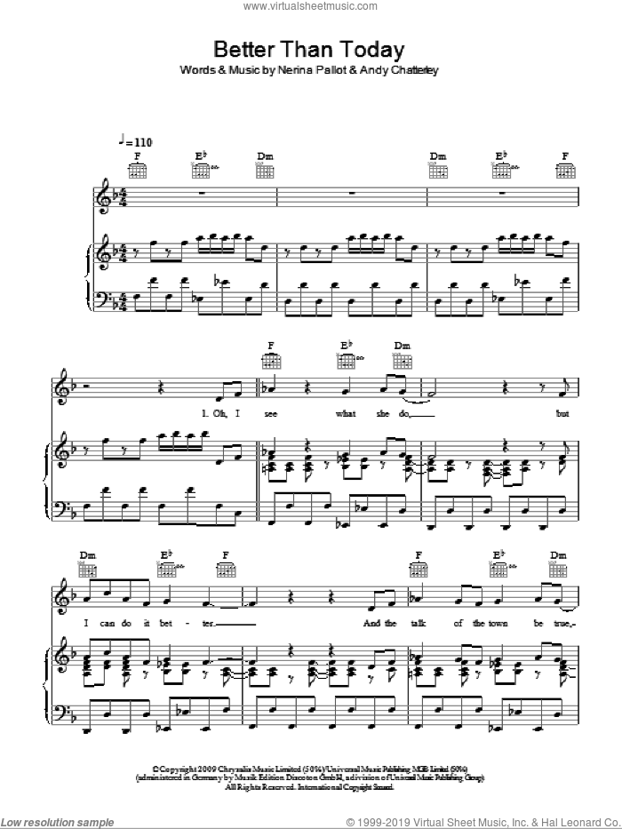 Better Than Today sheet music for voice, piano or guitar by Kylie and Nerina Pallot, intermediate. Score Image Preview.