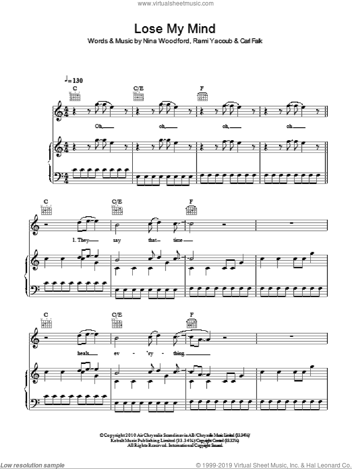 Lose My Mind sheet music for voice, piano or guitar by Rami