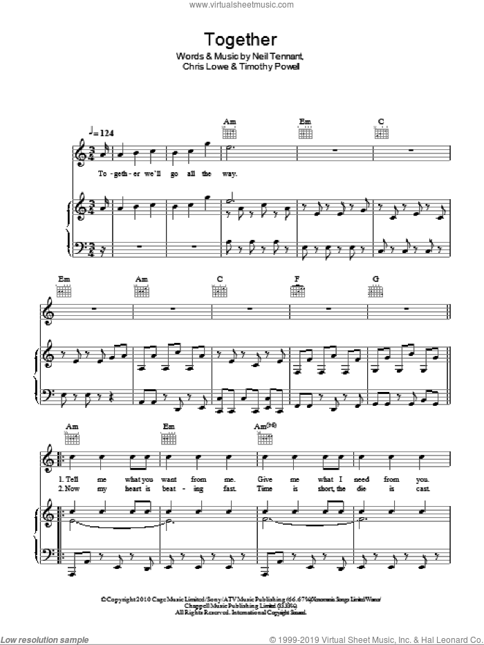 Together sheet music for voice, piano or guitar by Timothy Powell, Pet Shop Boys, The Pet Shop Boys and Neil Tennant. Score Image Preview.