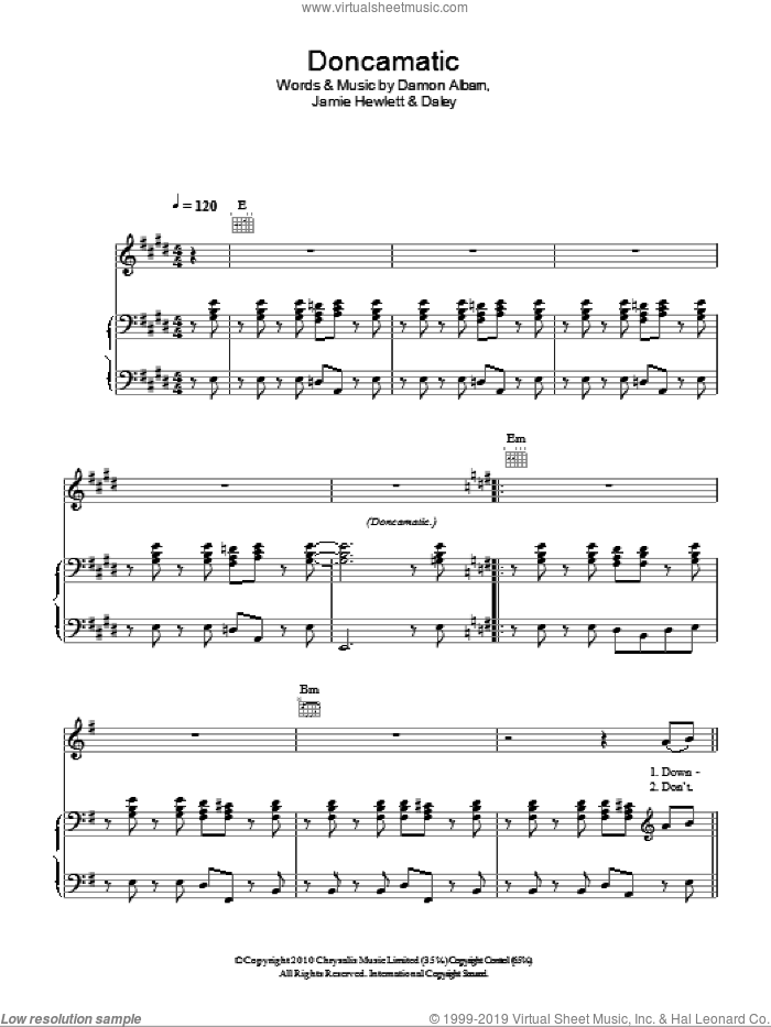 Doncamatic sheet music for voice, piano or guitar by Gorillaz featuring Daley, Gorillaz, Daley, Damon Albarn and Jamie Hewlett, intermediate skill level