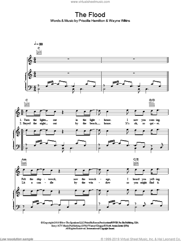 The Flood sheet music for voice, piano or guitar by Wayne Wilkins and Priscilla Hamilton. Score Image Preview.