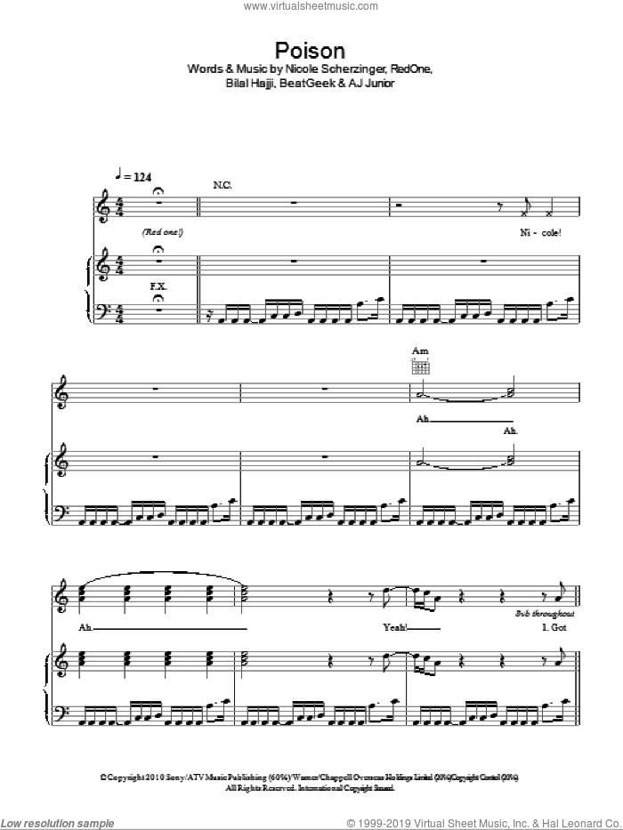 Poison sheet music for voice, piano or guitar by Nicole Scherzinger, intermediate voice, piano or guitar. Score Image Preview.