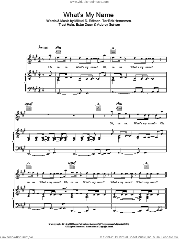 What's My Name? sheet music for voice, piano or guitar by Rihanna featuring Drake, Rihanna, Aubrey Graham, Ester Dean, Mikkel S. Eriksen, Tor Erik Hermansen and Tracy Hale, intermediate skill level