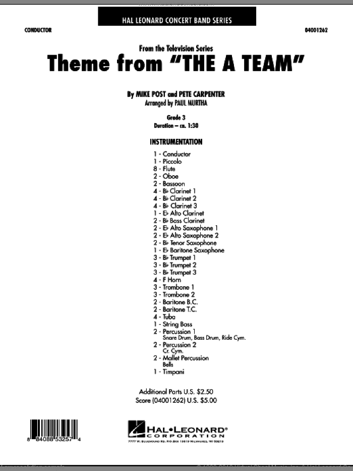 Theme from The A-Team sheet music for concert band (full score) by Mike Post