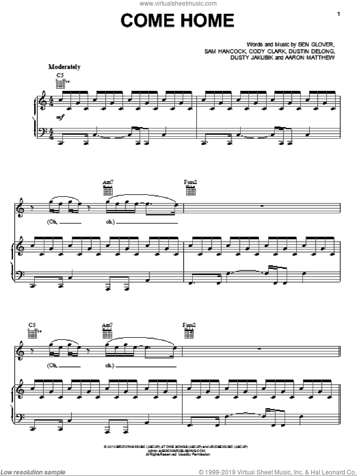 Come Home sheet music for voice, piano or guitar by Luminate and Ben Glover, intermediate voice, piano or guitar. Score Image Preview.