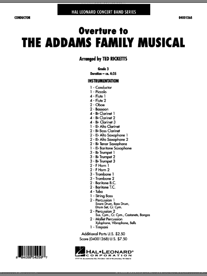 Overture to The Addams Family Musical (COMPLETE) sheet music for concert band by Ted Ricketts, intermediate skill level