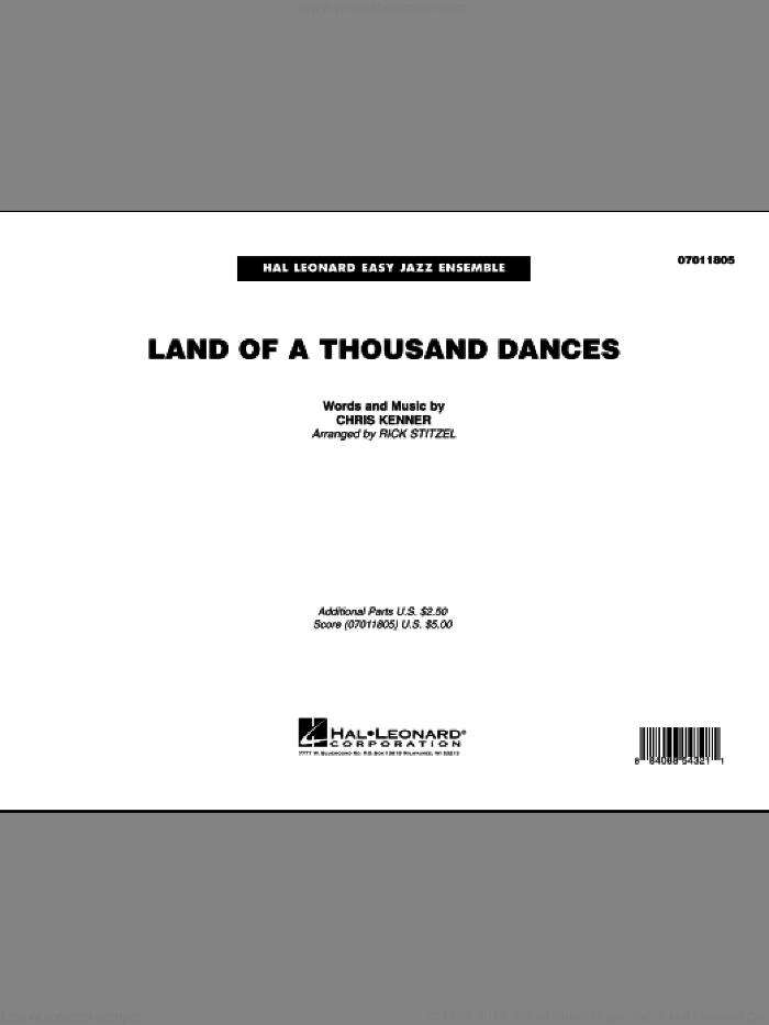 Land Of A Thousand Dances (COMPLETE) sheet music for jazz band by Rick Stitzel, Chris Kenner and Wilson Pickett, intermediate skill level