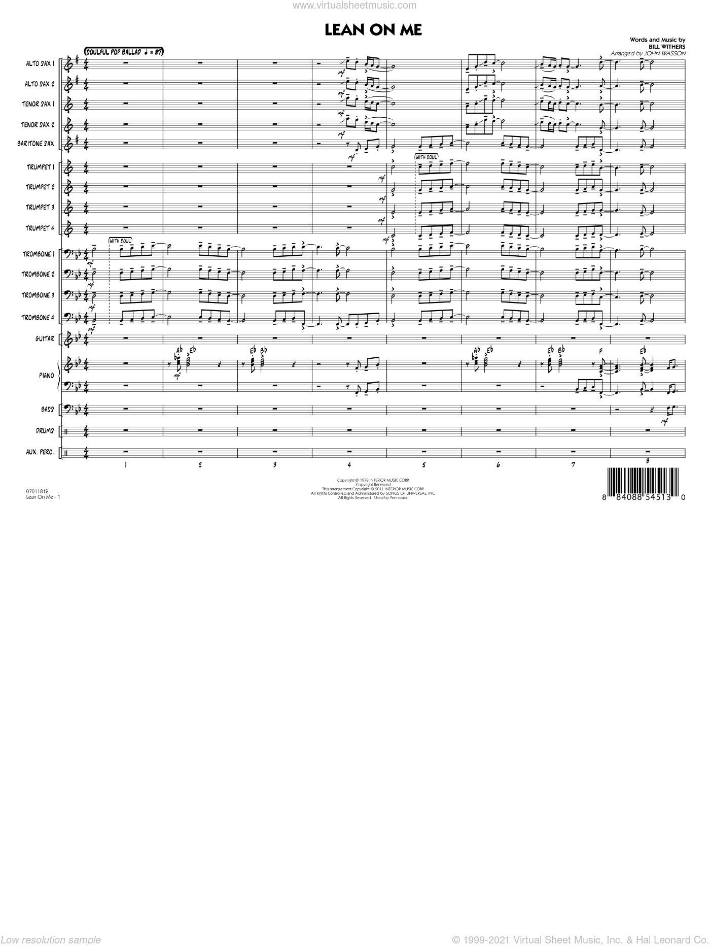 Lean On Me sheet music for jazz band (full score) by John Wasson