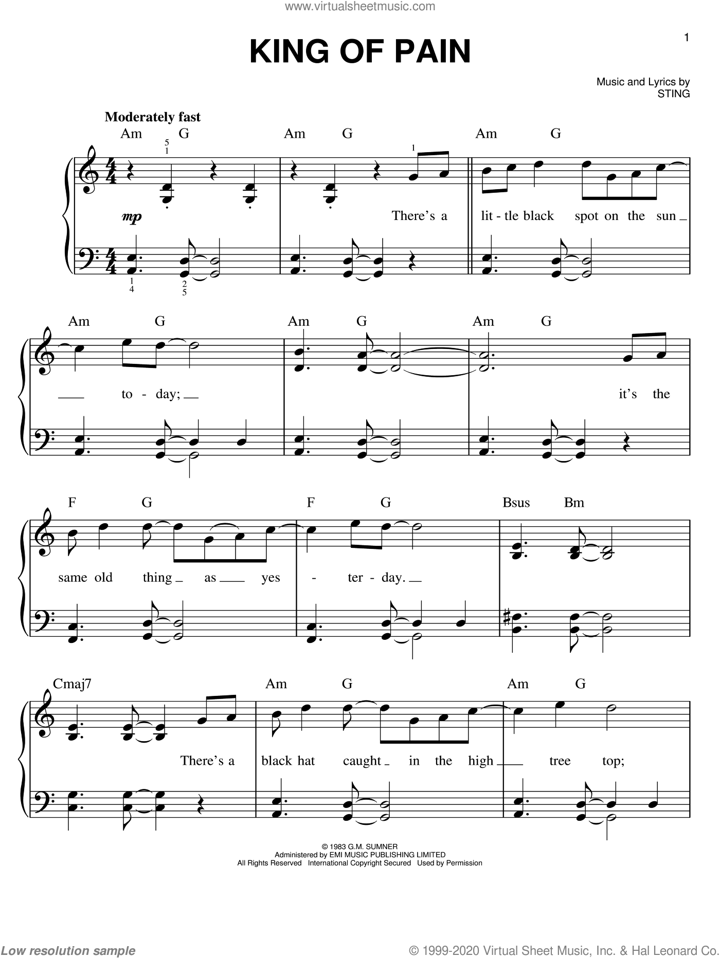 King Of Pain sheet music for piano solo by The Police and Sting, easy skill level