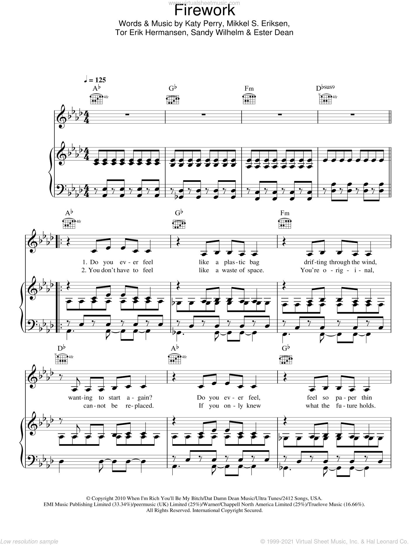 Firework sheet music for voice, piano or guitar by Katy Perry, Ester Dean, Mikkel S. Eriksen, Sandy Wilhelm and Tor Erik Hermansen, intermediate skill level