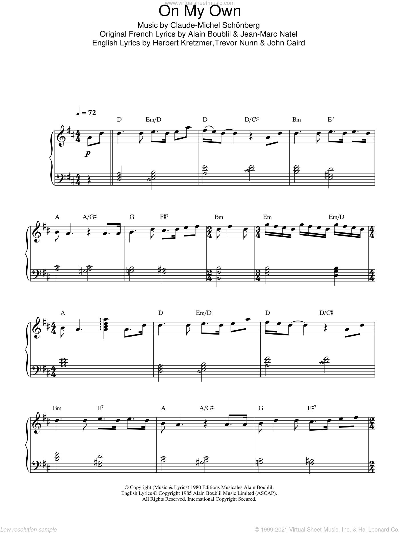 On My Own sheet music for piano solo by Alain Boublil, Les Miserables (Musical), Claude-Michel Schonberg, Herbert Kretzmer, Jean-Marc Natel, John Caird and Trevor Nunn, intermediate skill level