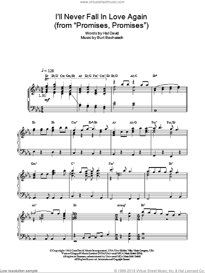 I'll Never Fall In Love Again sheet music for piano solo by Bacharach & David, Promises, Promises (Musical), Burt Bacharach and Hal David, intermediate skill level