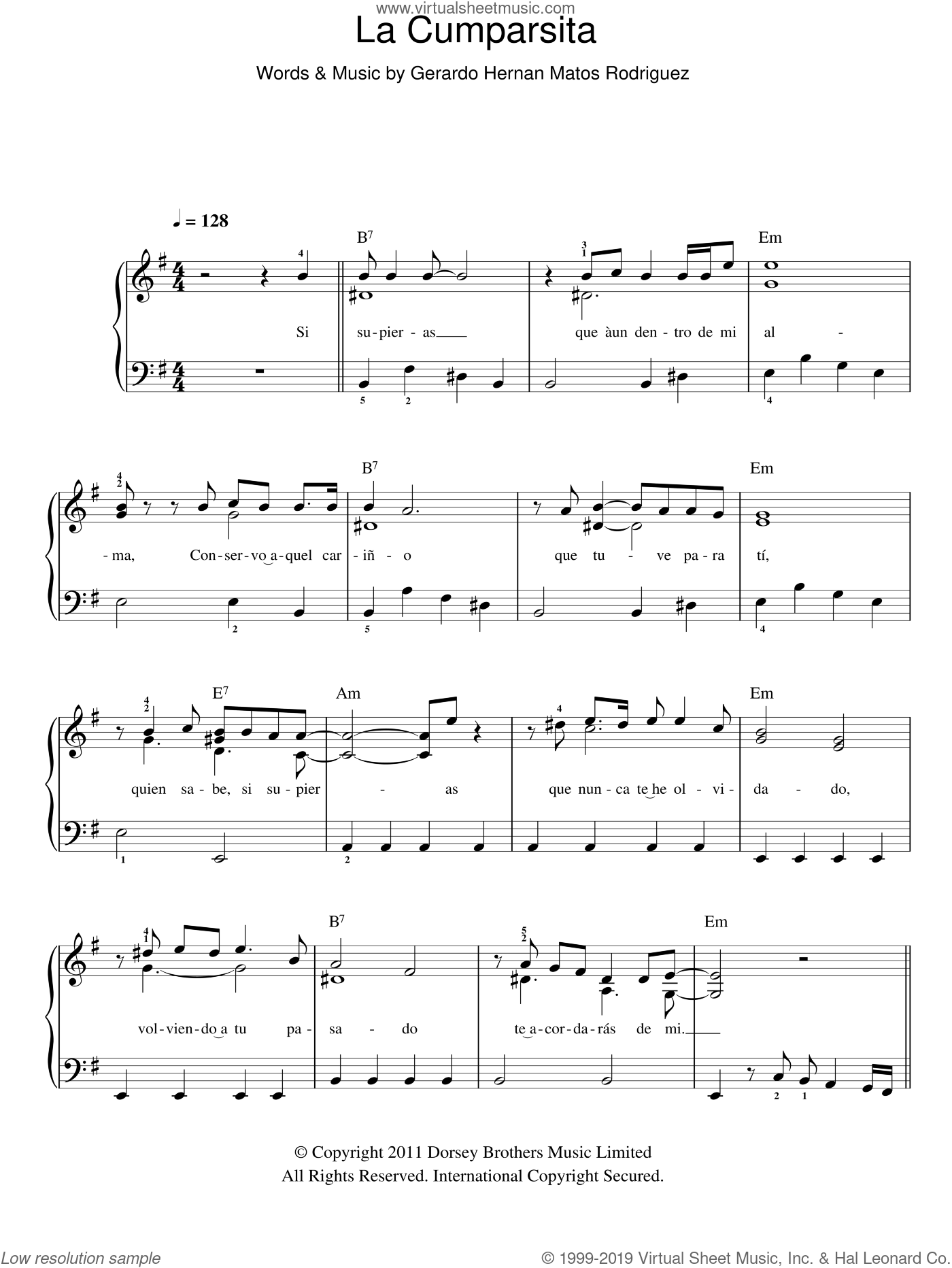 La Cumparsita sheet music for piano solo by Gerardo Hernan Matos Rodriguez, easy skill level
