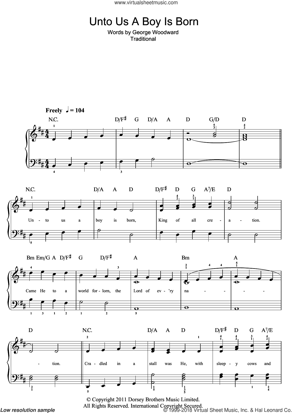 Unto Us A Boy Is Born sheet music for piano solo (beginners)  and George Woodward, beginner piano (beginners)