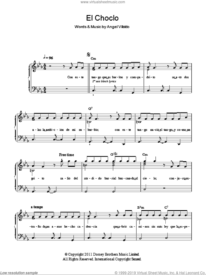 El Choclo sheet music for piano solo by Angel Villoldo, easy skill level