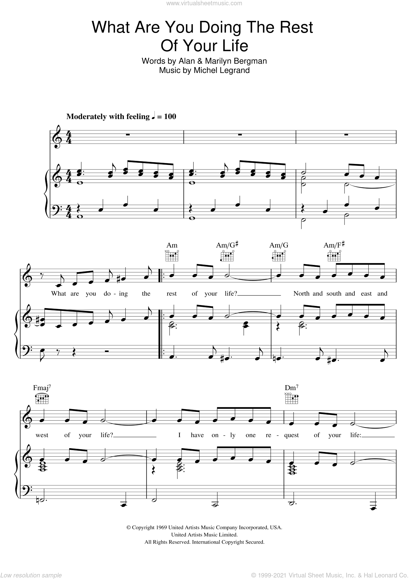 What Are You Doing The Rest Of Your Life sheet music for voice, piano or guitar by Michel LeGrand, Alan, Alan and Marilyn Bergman and Michel Legrand, Alan Bergman and Marilyn Bergman, intermediate skill level