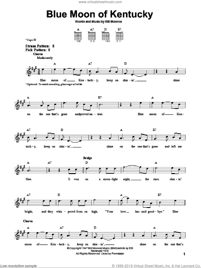Blue Moon Of Kentucky sheet music for guitar solo (chords) by Bill Monroe and Elvis Presley. Score Image Preview.