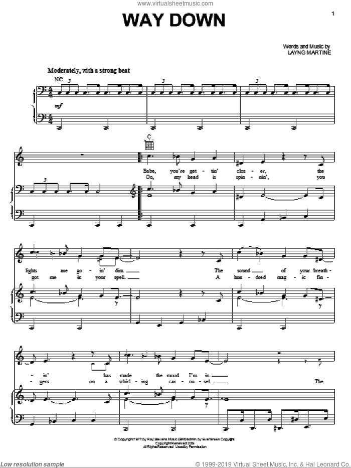 Way Down sheet music for voice, piano or guitar by Elvis Presley and Layng Martine, intermediate. Score Image Preview.