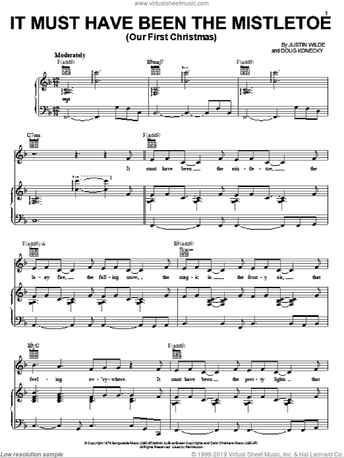 It Must Have Been The Mistletoe (Our First Christmas) sheet music for voice, piano or guitar by Barbara Mandrell, Doug Konecky and Justin Wilde, intermediate skill level