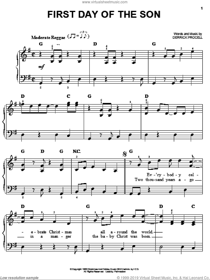First Day Of The Son sheet music for piano solo by Derrick Procell. Score Image Preview.