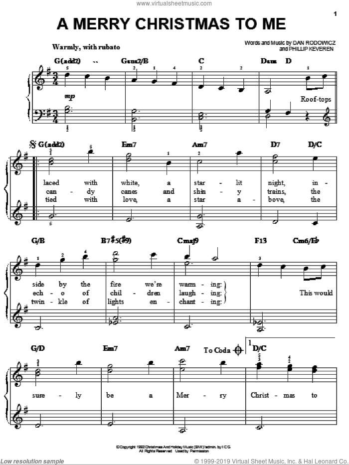 A Merry Christmas To Me sheet music for piano solo by Daniel Martin Rodowicz, Christmas carol score, easy piano. Score Image Preview.