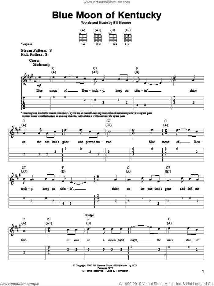 Blue Moon Of Kentucky sheet music for guitar solo (easy tablature) by Bill Monroe and Elvis Presley. Score Image Preview.