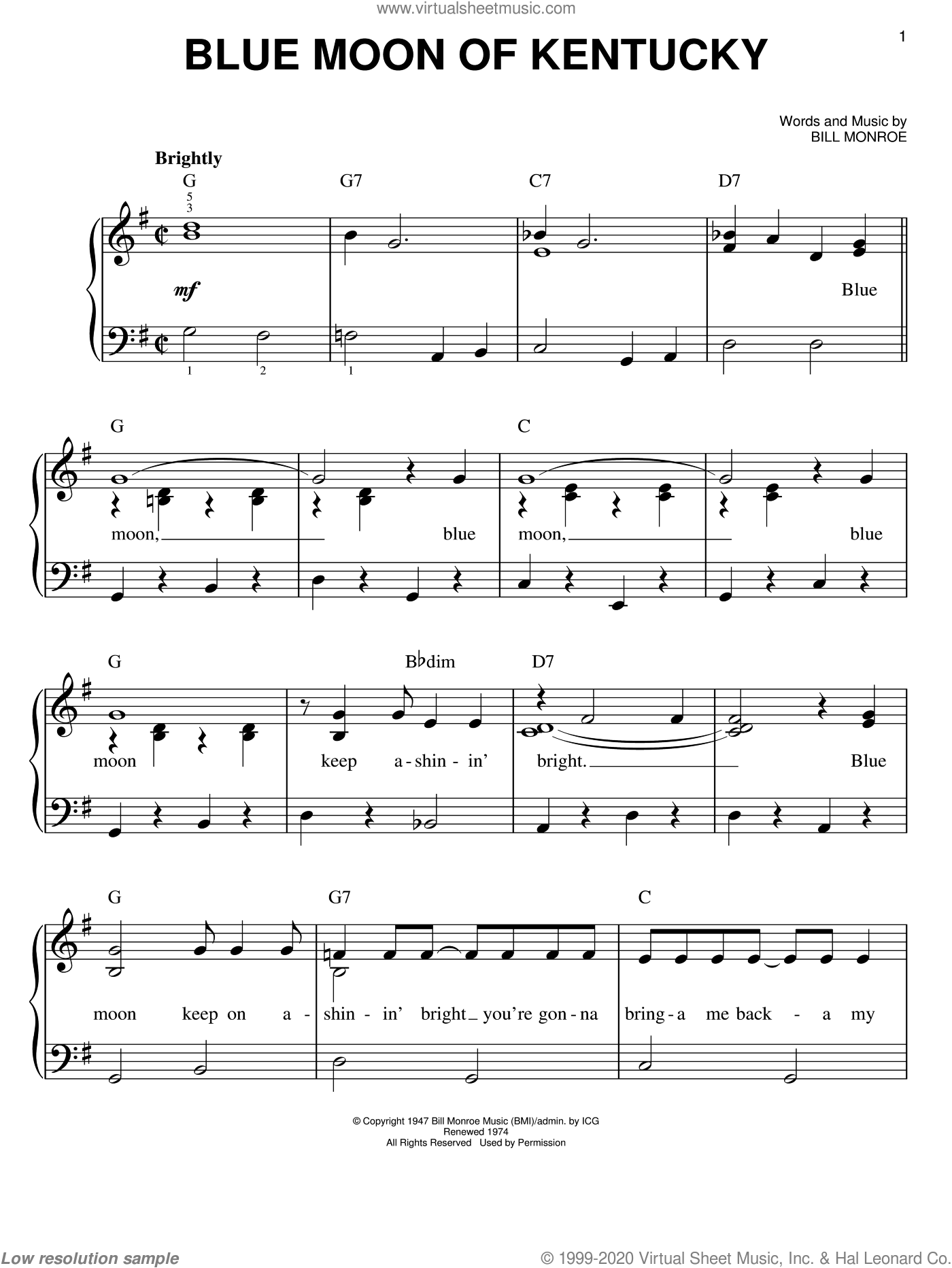 Blue Moon Of Kentucky sheet music for piano solo by Bill Monroe and Elvis Presley, easy skill level