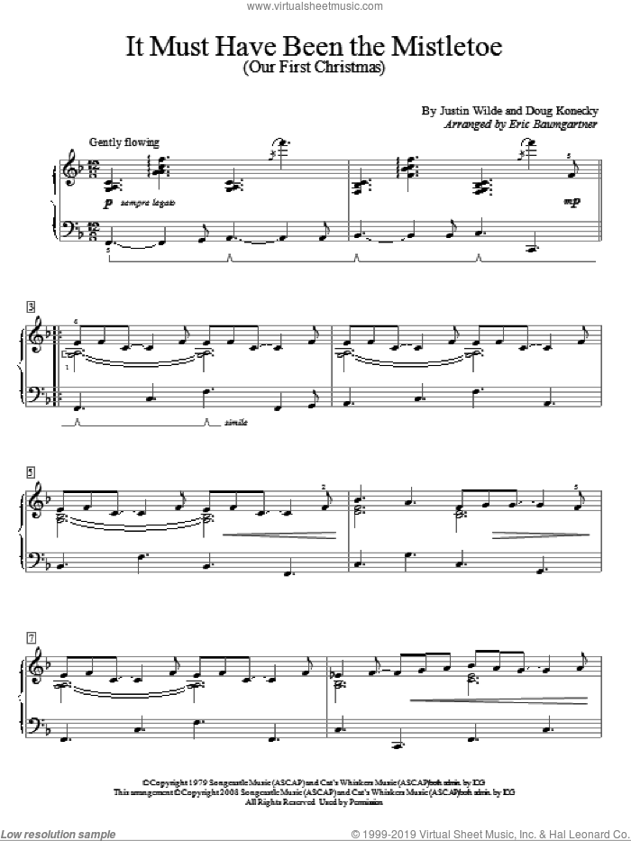 It Must Have Been The Mistletoe (Our First Christmas) sheet music for piano solo (elementary) by Barbara Mandrell, Eric Baumgartner, Doug Konecky and Justin Wilde, beginner piano (elementary)