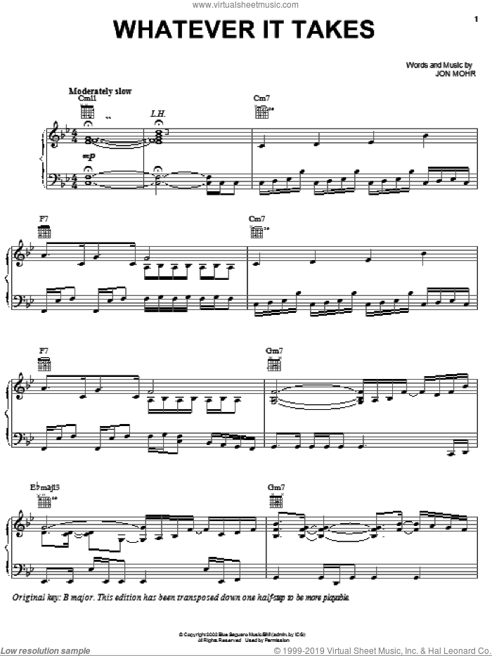 Whatever It Takes sheet music for voice, piano or guitar by Jon Mohr and Steve Green