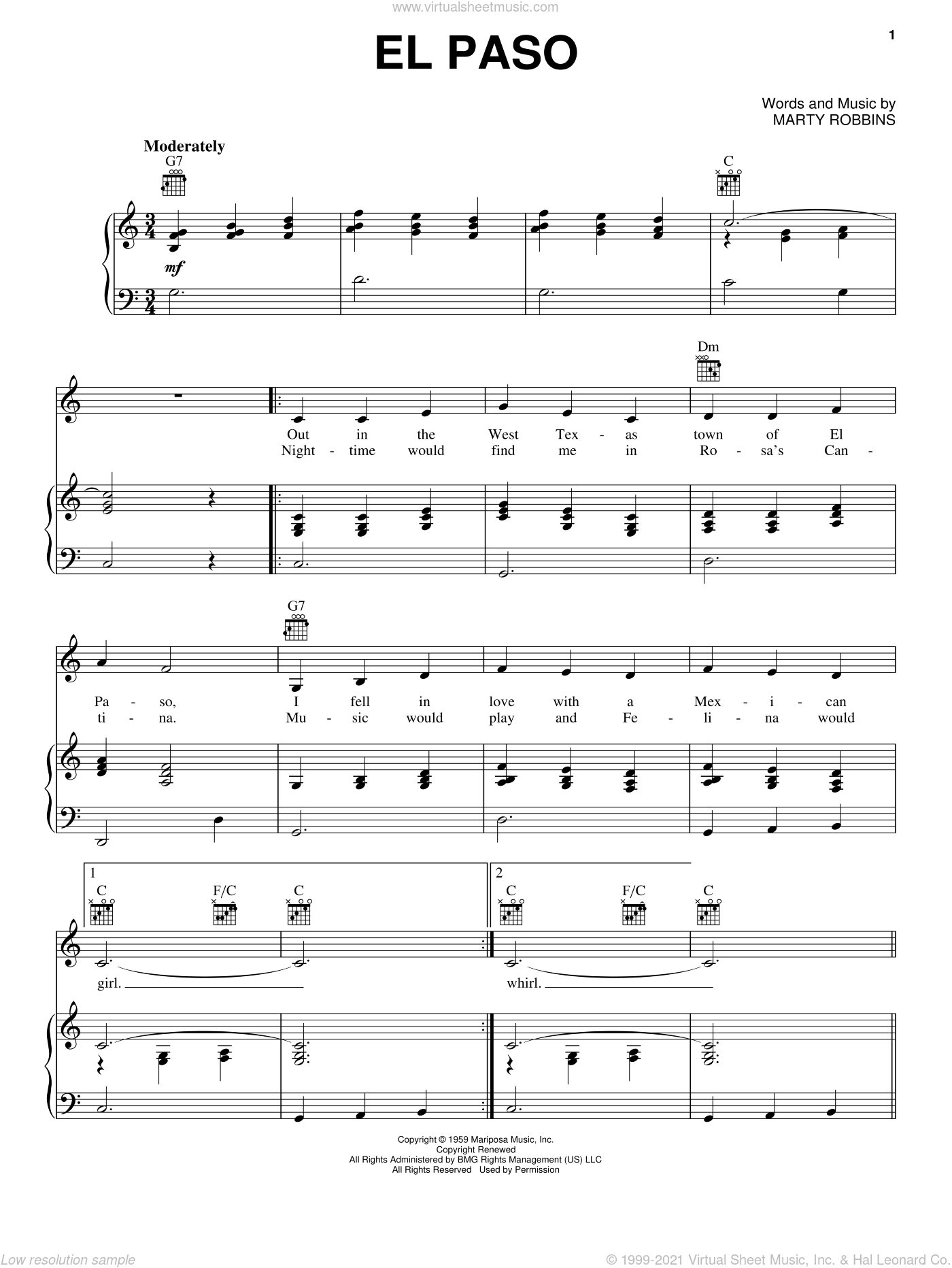 El Paso sheet music for voice, piano or guitar by Marty Robbins. Score Image Preview.
