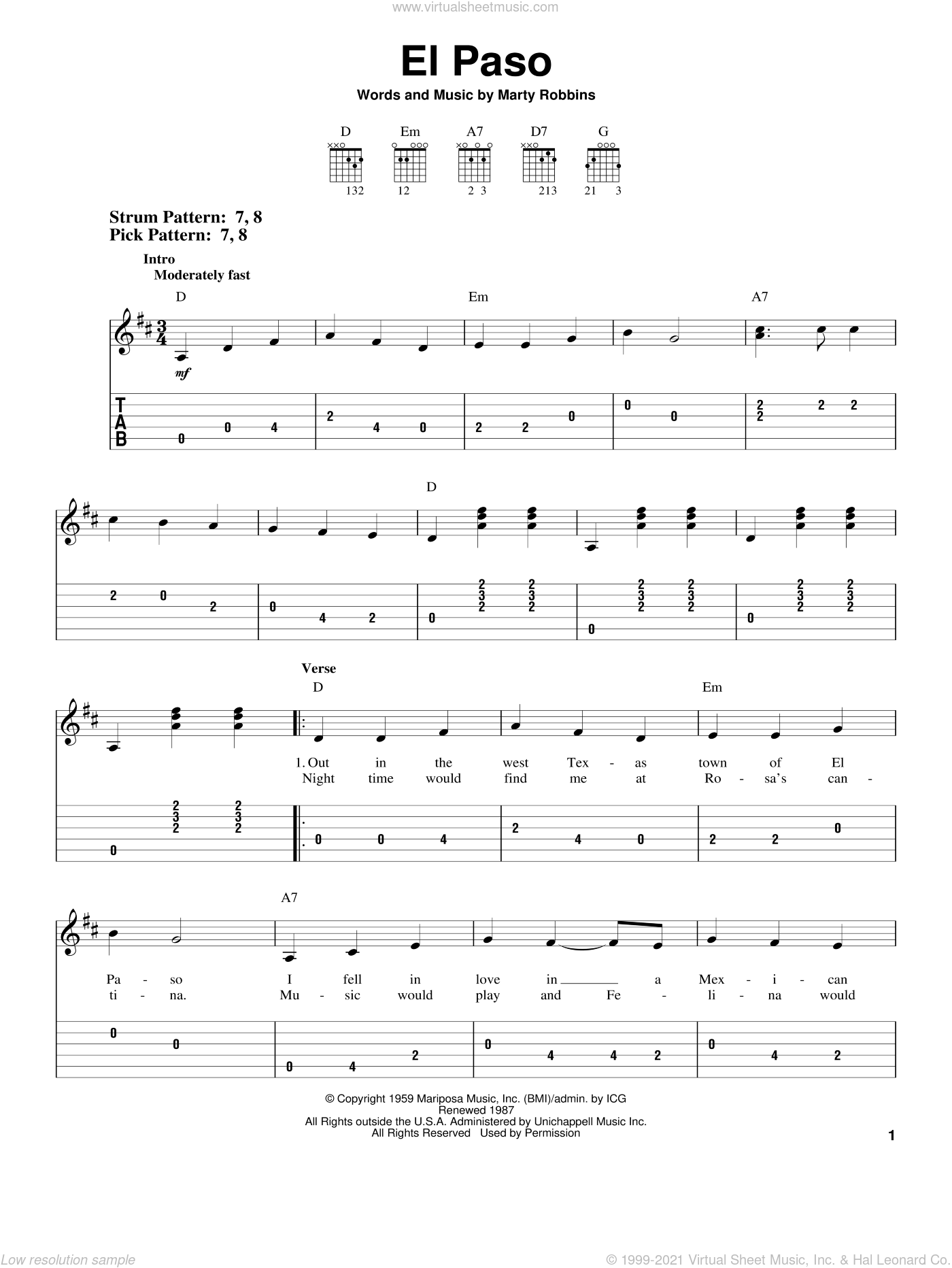El Paso sheet music for guitar solo (easy tablature) by Marty Robbins