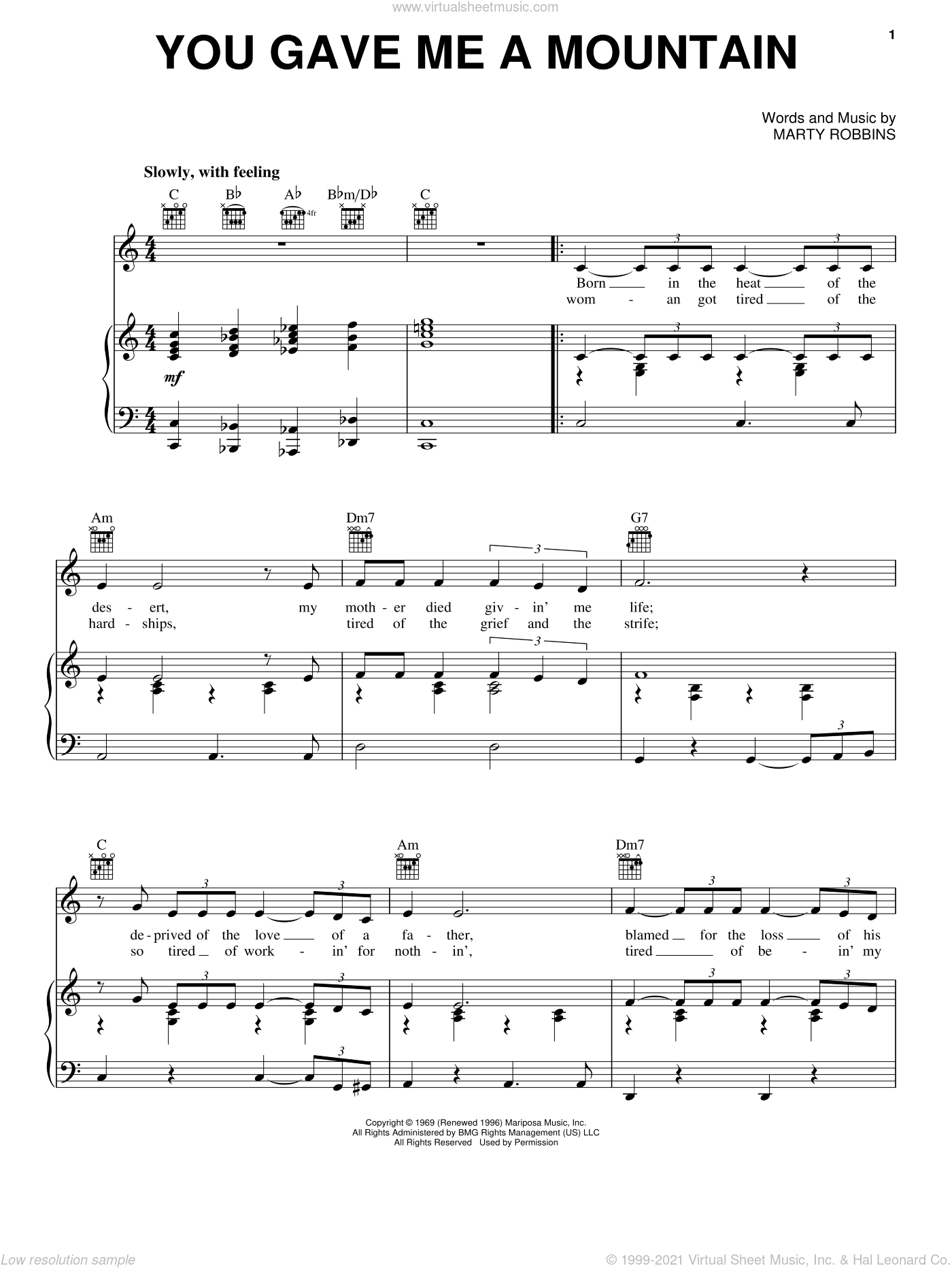 You Gave Me A Mountain sheet music for voice, piano or guitar by Elvis Presley