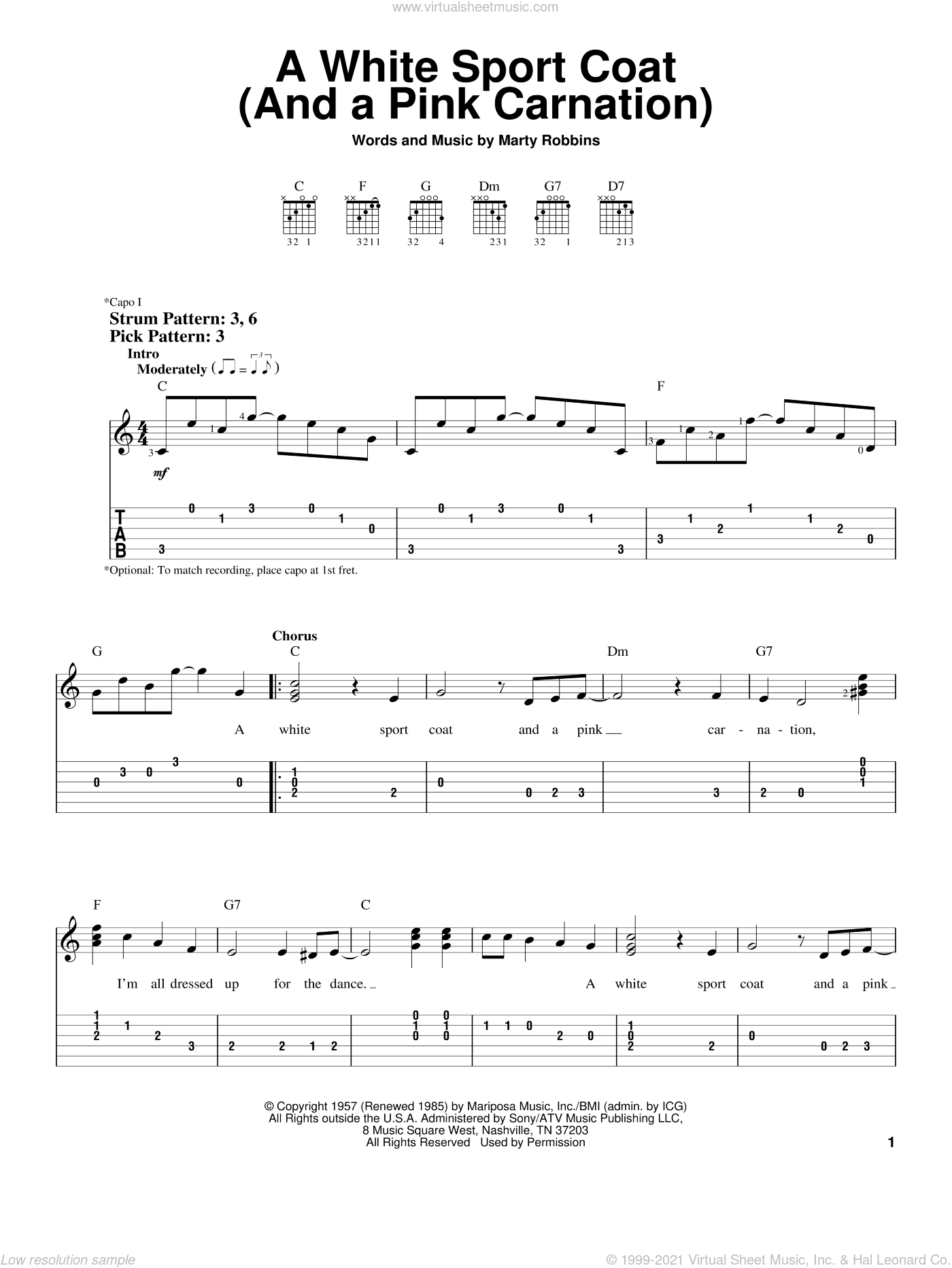 A White Sport Coat (And A Pink Carnation) sheet music for guitar solo (easy tablature) by Marty Robbins. Score Image Preview.
