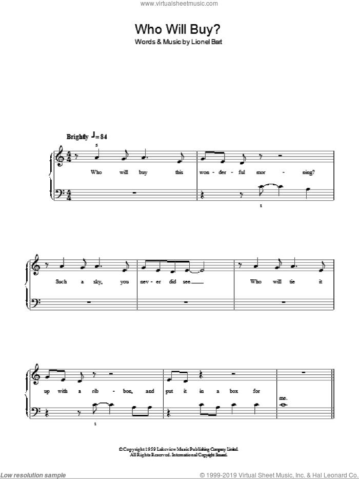 Who Will Buy? sheet music for piano solo by Lionel Bart and Oliver! (Musical), easy skill level
