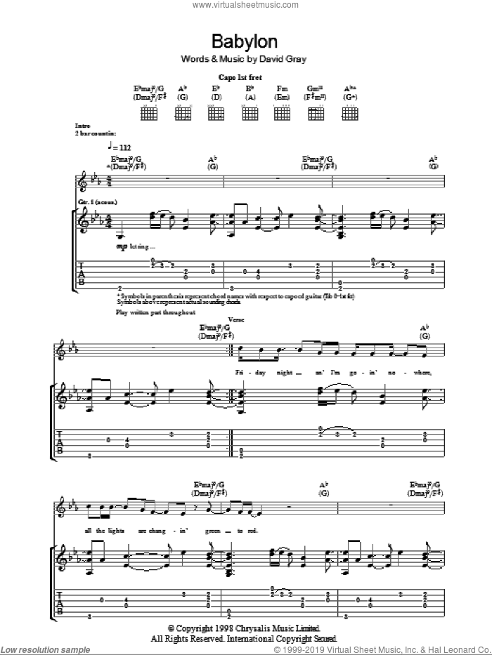 Babylon sheet music for guitar (tablature) by David Gray. Score Image Preview.