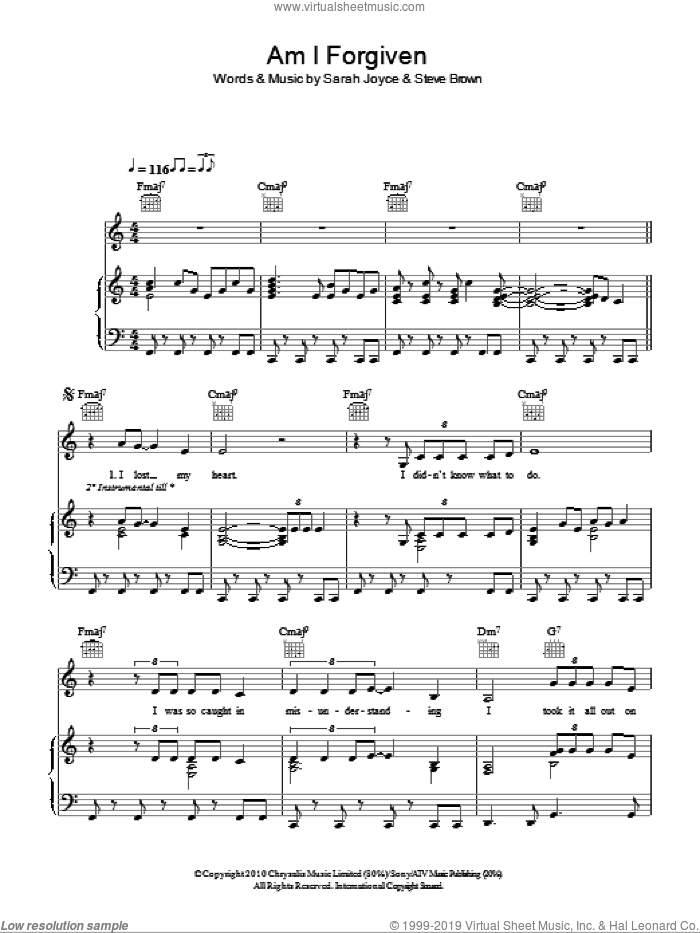 Am I Forgiven sheet music for voice, piano or guitar by Steve Brown and Sarah Joyce. Score Image Preview.