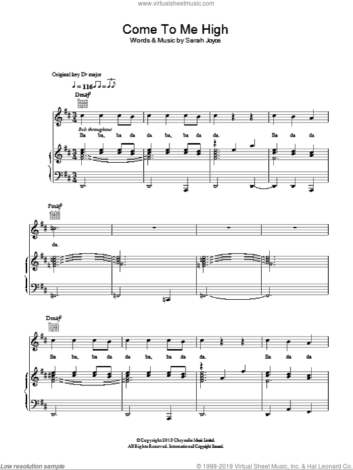 Come To Me High sheet music for voice, piano or guitar by Rumer and Sarah Joyce, intermediate. Score Image Preview.