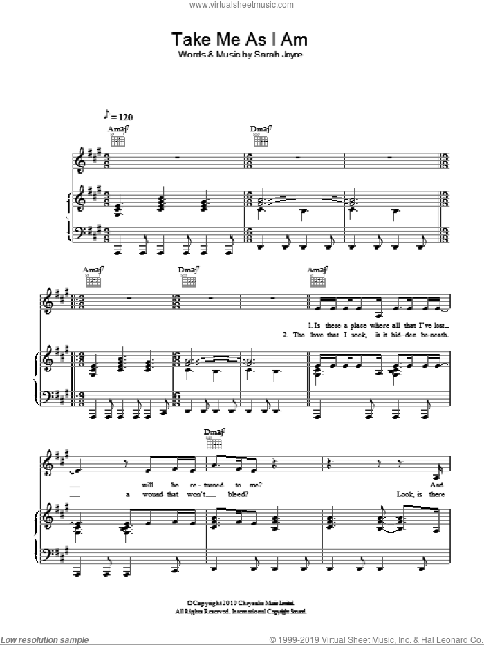 Take Me As I Am sheet music for voice, piano or guitar by Rumer. Score Image Preview.