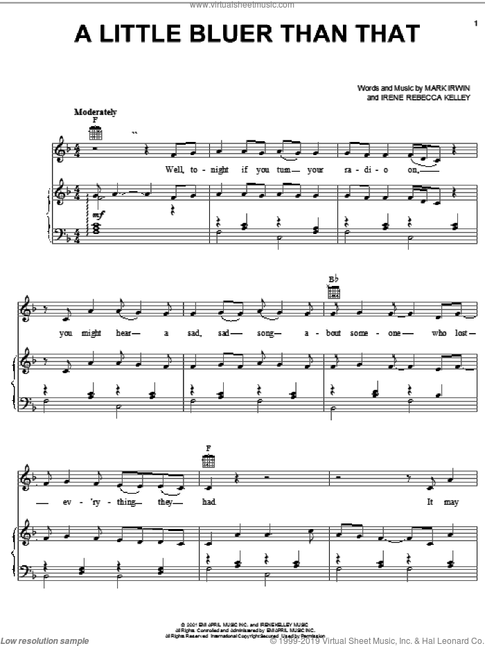 A Little Bluer Than That sheet music for voice, piano or guitar by Alan Jackson, Irene Rebecca Kelley and Mark Irwin, intermediate skill level