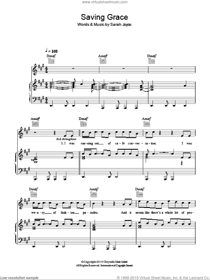 Saving Grace sheet music for voice, piano or guitar by Sarah Joyce. Score Image Preview.
