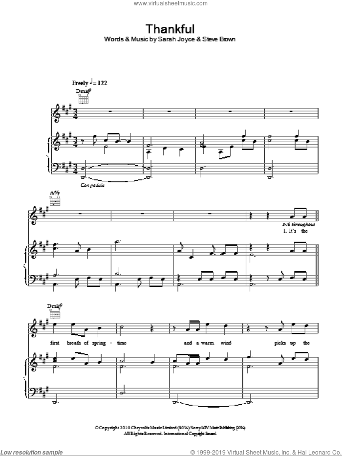 Thankful sheet music for voice, piano or guitar by Rumer and Steve Brown. Score Image Preview.