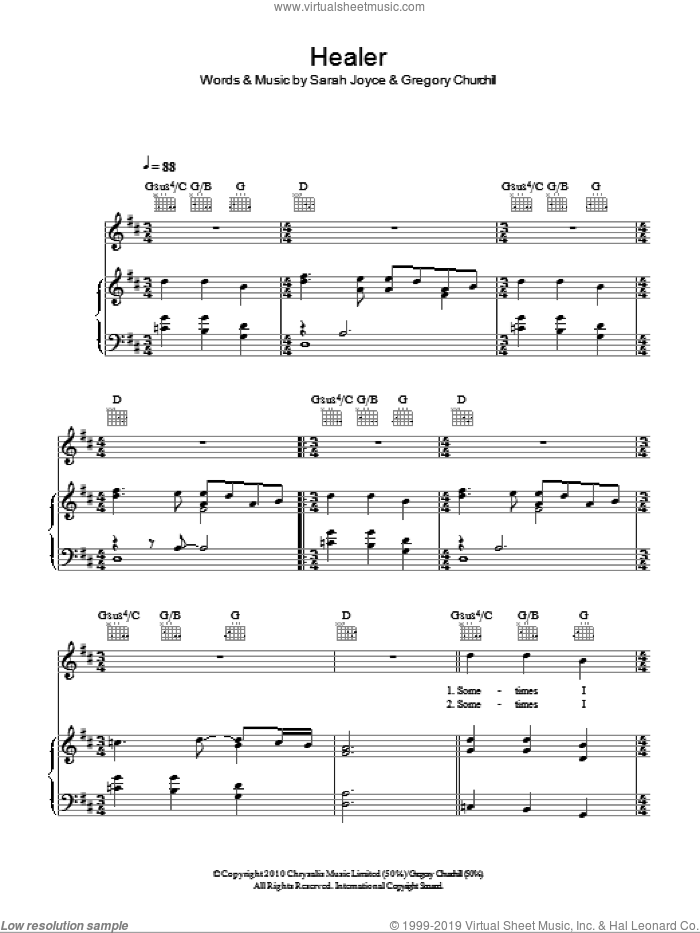 Healer sheet music for voice, piano or guitar by Rumer. Score Image Preview.