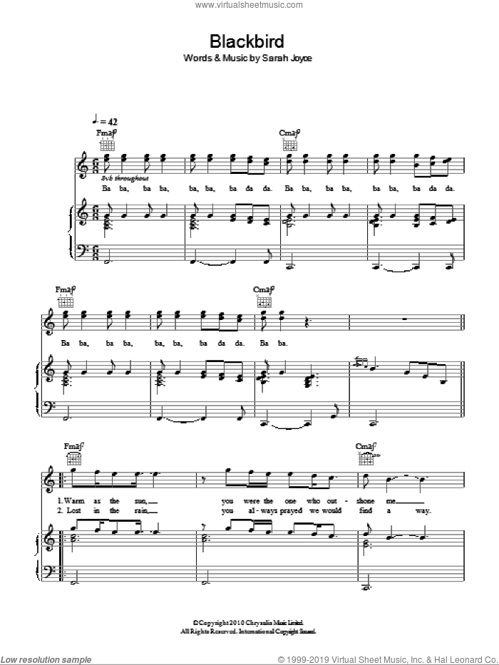 Blackbird sheet music for voice, piano or guitar by Rumer and Sarah Joyce, intermediate skill level