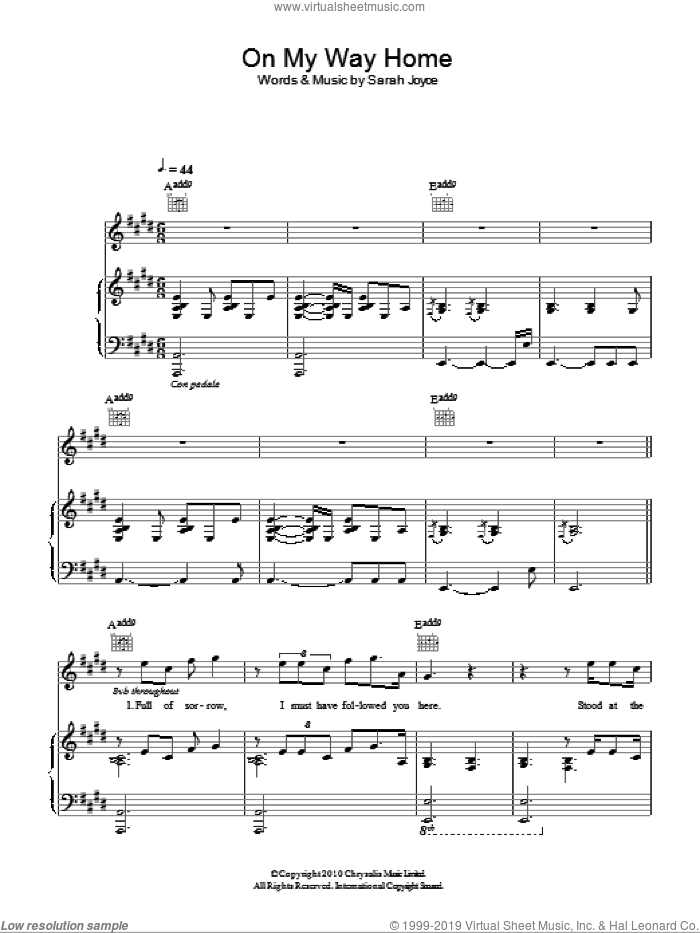 On My Way Home sheet music for voice, piano or guitar by Rumer and Sarah Joyce, intermediate skill level