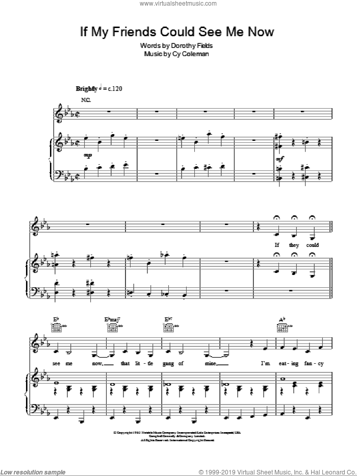If My Friends Could See Me Now sheet music for piano solo by Cy Coleman, Sweet Charity (Musical) and Dorothy Fields, easy skill level