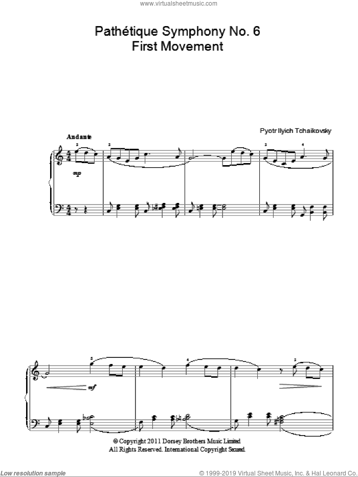 Pathetique (from The 6th Symphony) sheet music for piano solo by Pyotr Ilyich Tchaikovsky, classical score, easy. Score Image Preview.