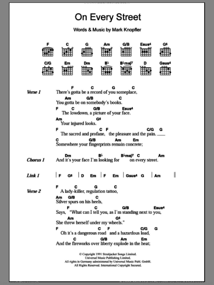 On Every Street sheet music for guitar (chords) by Dire Straits and Mark Knopfler, intermediate skill level