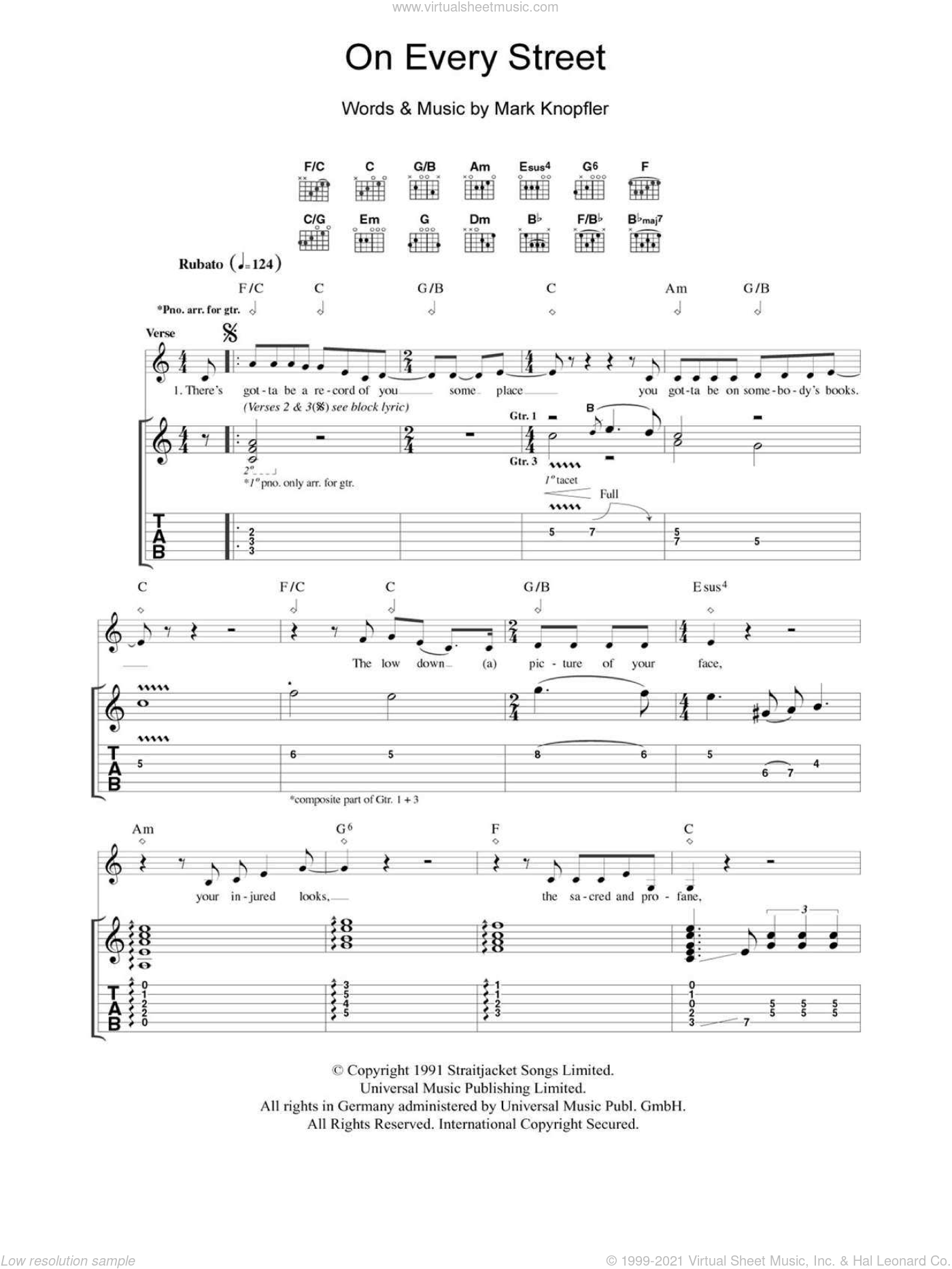 On Every Street sheet music for guitar (tablature) by Dire Straits and Mark Knopfler, intermediate guitar (tablature). Score Image Preview.