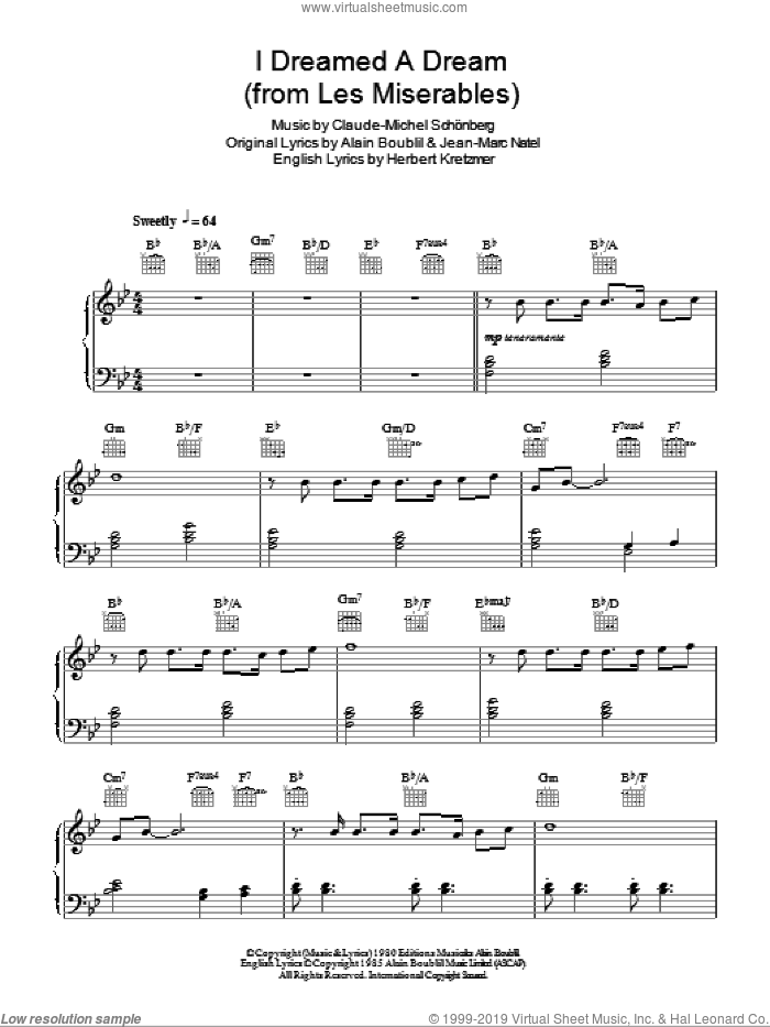 I Dreamed A Dream (from Les Miserables) sheet music for piano solo by Claude-Michel Schonberg, Les Miserables (Musical), Alain Boublil, Boublil and Schonberg, Herbert Kretzmer and Jean-Marc Natel, easy skill level