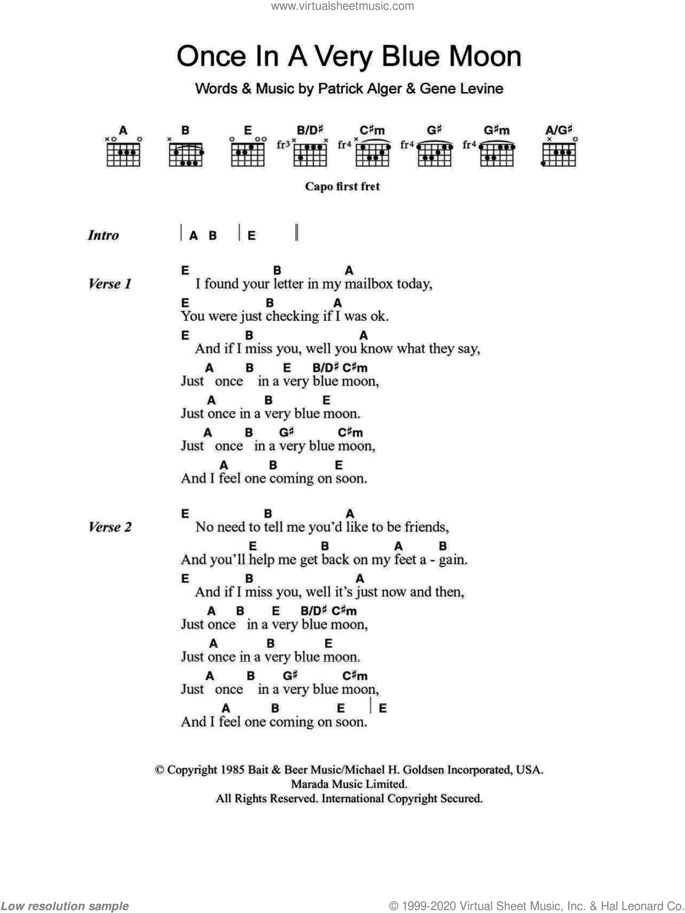 Once In A Very Blue Moon sheet music for guitar (chords) by Patrick Alger